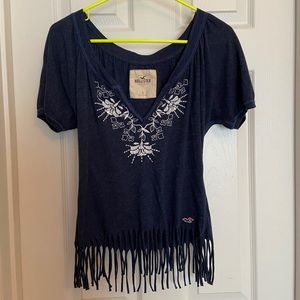 Hollister Navy Blue Fringe Top Size Small
